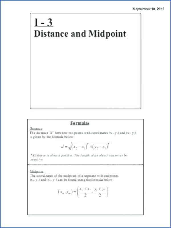 Distance and Midpoint Worksheet Midpoint and Distance formula Worksheet with Answers