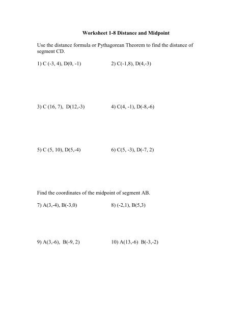 Distance and Midpoint Worksheet Worksheet 1 8 Distance and Midpoint Use the Distance formula