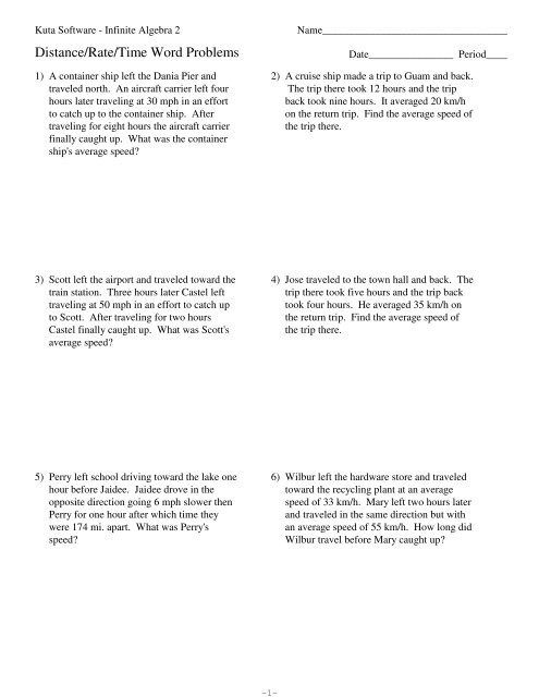 Distance formula Word Problems Worksheet Distance Rate Time Word Problems Kuta software
