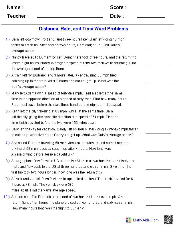 Distance formula Word Problems Worksheet Number Equation Word Problem Algebra 1