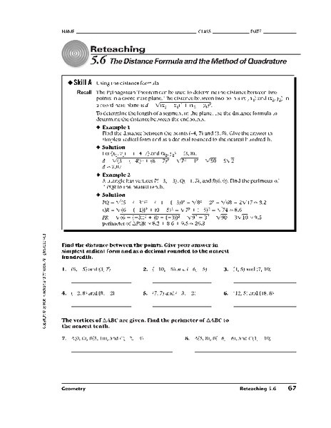 Distance formula Worksheet with Answers the Distance formula Worksheet for 10th Grade