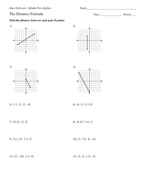 Distance formula Worksheet with Answers the Distance formula Worksheet for 7th 9th Grade