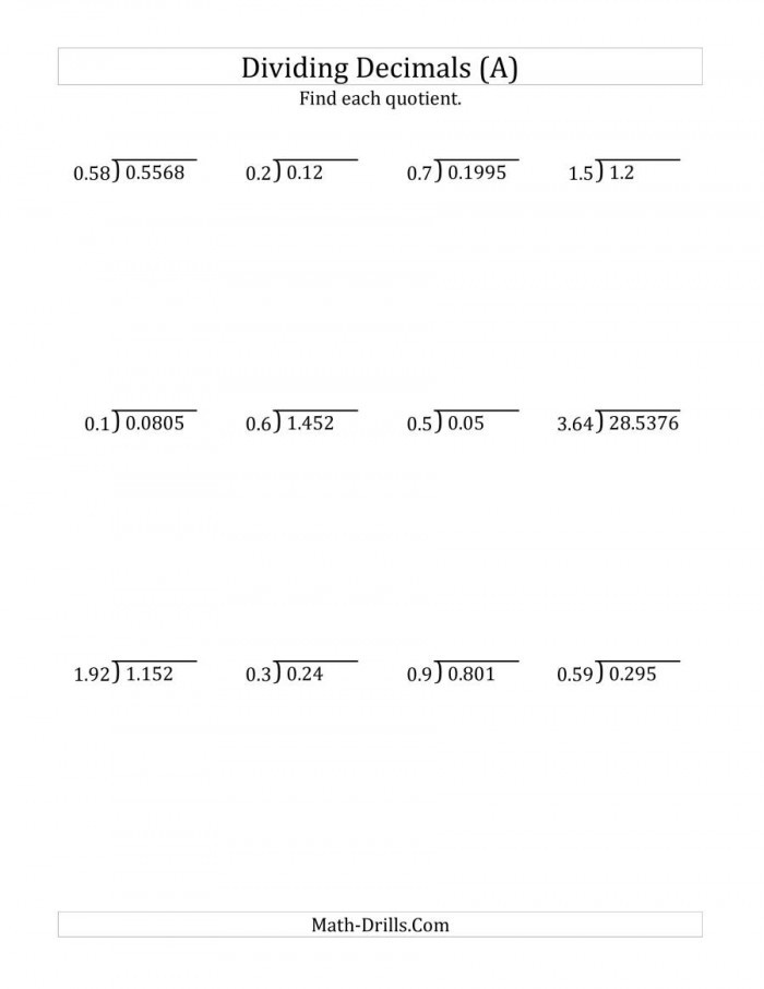 Dividing Decimals Worksheet Pdf Dividing Decimals Worksheets