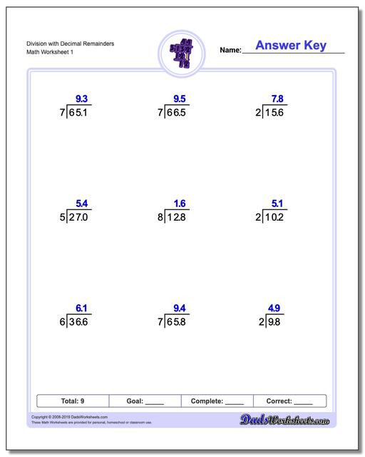 Dividing Decimals Worksheet Pdf Division with Decimal Results