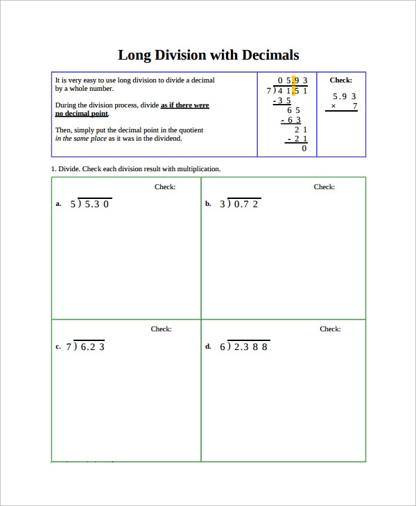 Dividing Decimals Worksheet Pdf Free Sample Division Worksheet Templates In Ms Word Pdf with
