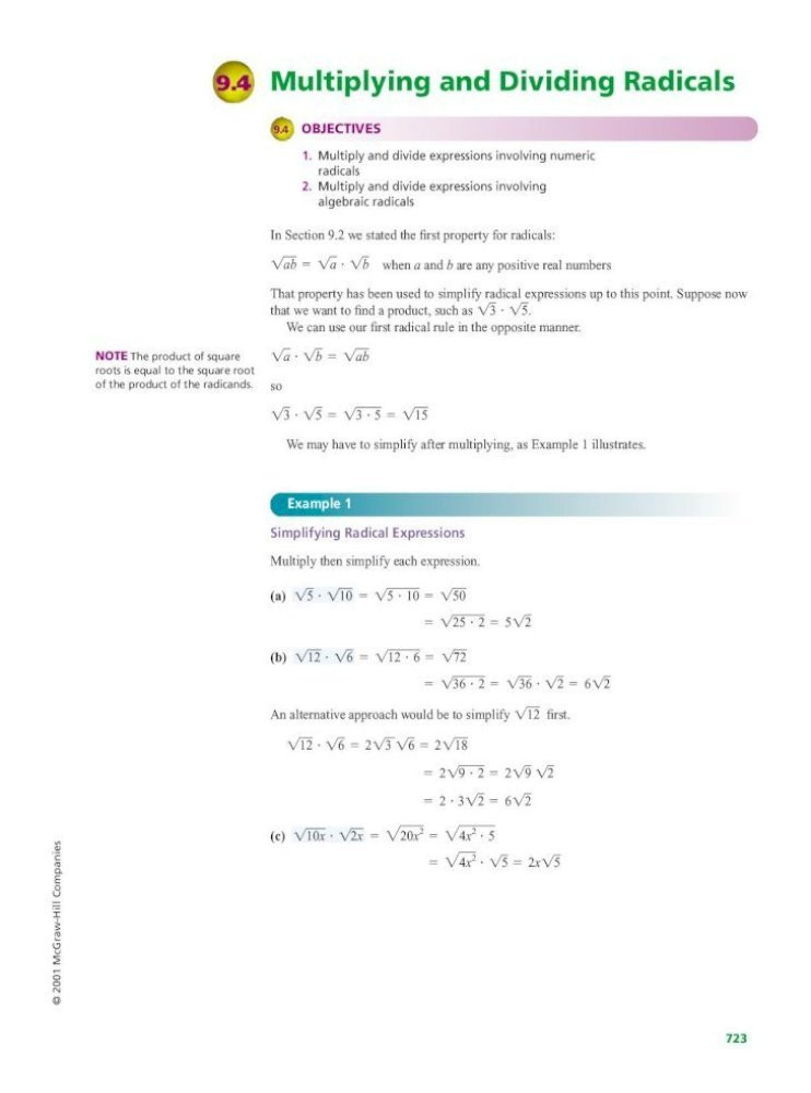 Dividing Radical Expressions Worksheet 9 4 Multiplying and Dividing Radicals Mcgraw Hill