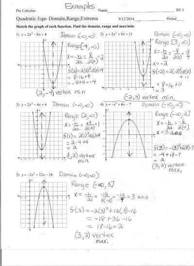 Domain and Range Worksheet Answers Chapter 1 Ms orban S Class Page