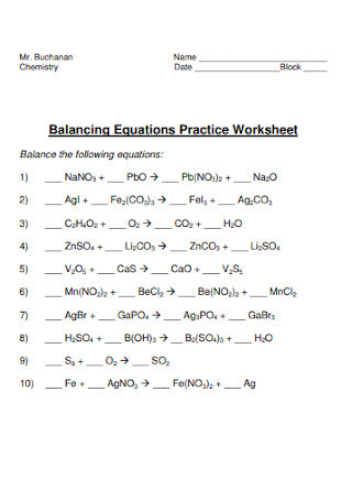 Double Replacement Reaction Worksheet 19 Sample Balancing Chemical Equations Worksheets In Pdf