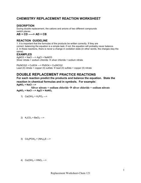 Double Replacement Reaction Worksheet Double Replacement Practice Reactions Example