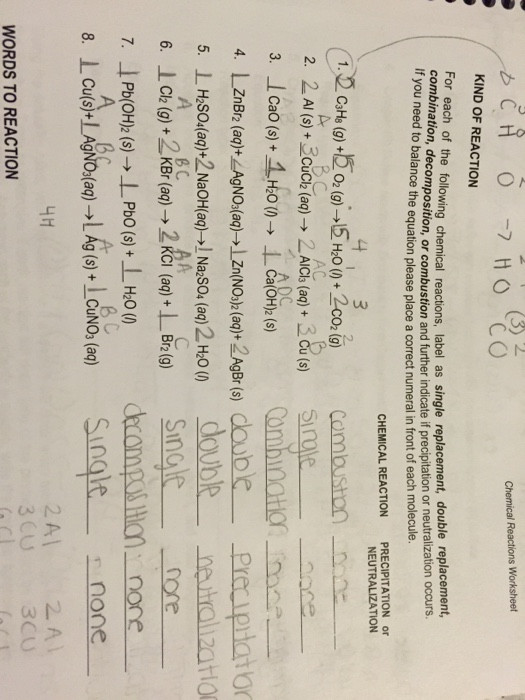 Double Replacement Reaction Worksheet for Each the Following Chemical Reactions Labe