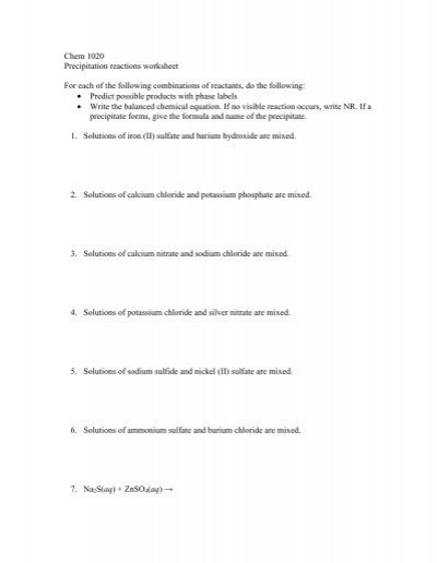 Double Replacement Reaction Worksheet Reaction Prediction Worksheet Answers the Best and Most