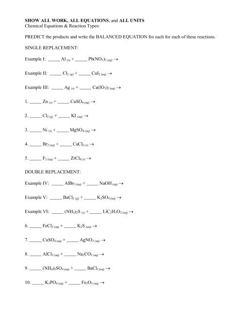 Double Replacement Reaction Worksheet Single Replacement & Double Replacement Worksheet Avon