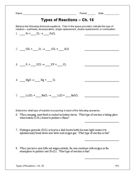 Double Replacement Reaction Worksheet Types Of Reactions Worksheet for 9th 12th Grade