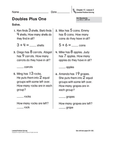 Doubles Plus One Worksheet Doubles Plus E Worksheet for 1st 2nd Grade