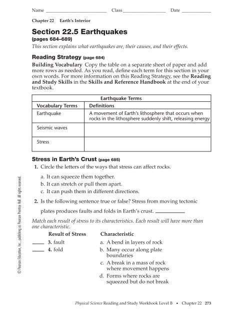 Earthquake Worksheets Middle School 22 5 Reading Guide Geneva area City Schools