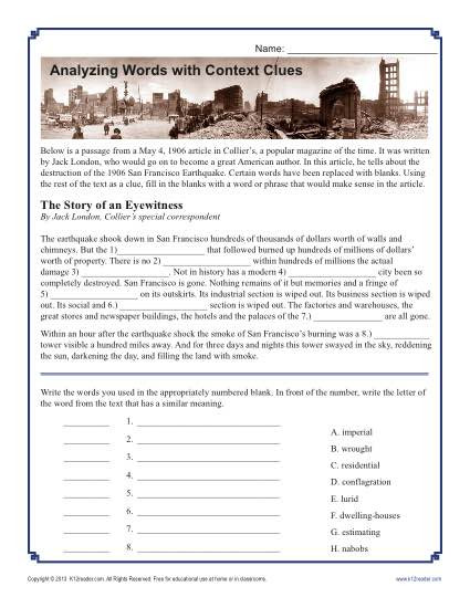 Earthquake Worksheets Middle School Analyzing Words with Context Clues