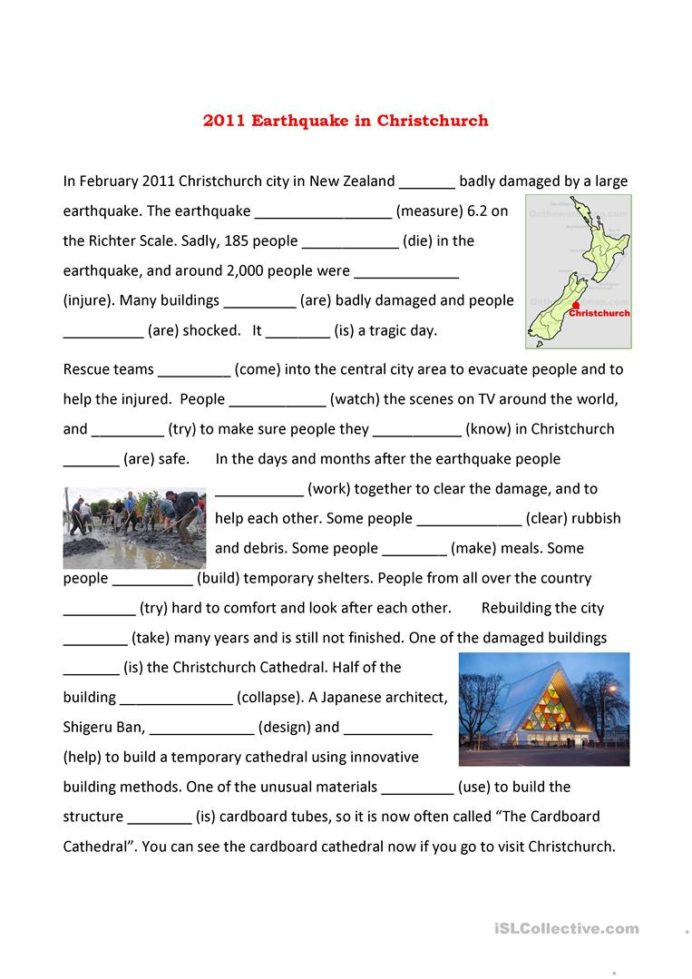 Earthquake Worksheets Middle School Christchurch Earthquake English Esl Worksheets for Distance