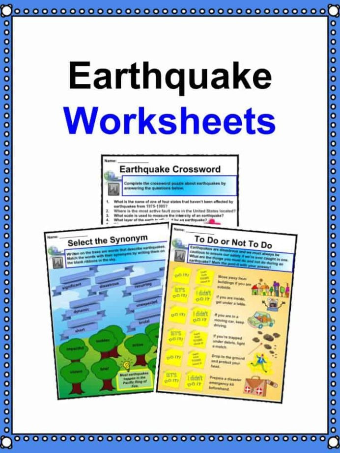 Earthquake Worksheets Middle School Earthquake Facts Worksheets Impact Historic Earthquakes for
