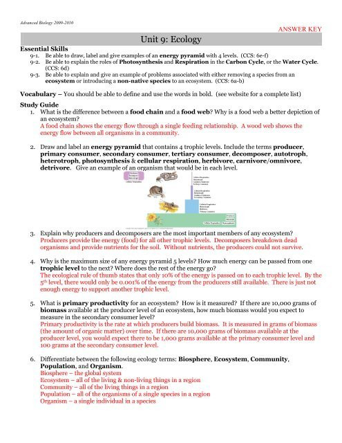 Ecological Relationships Worksheet Answers Answer Key