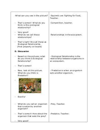 Ecological Relationships Worksheet Answers Ecology Lesson Plan