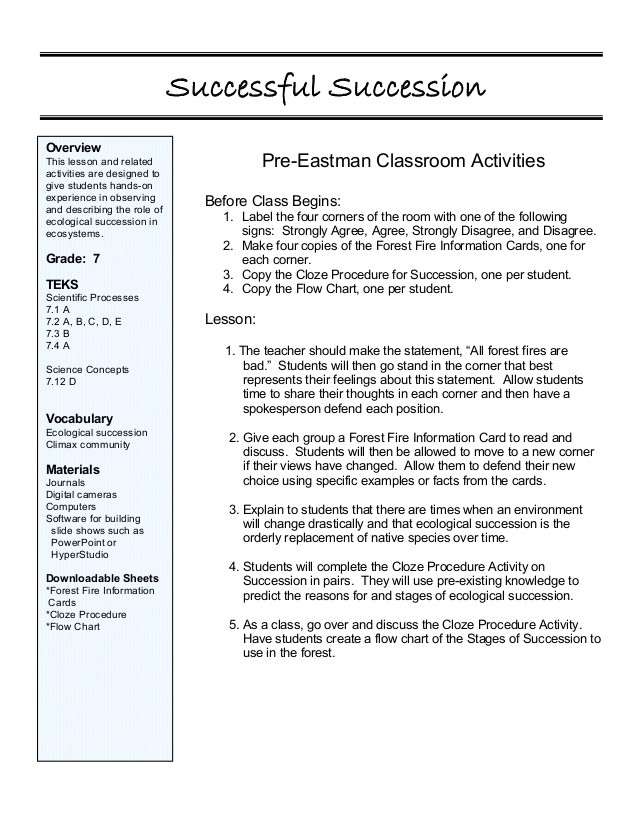Ecological Succession Worksheet Answer Key Lesson4 Successful Succession