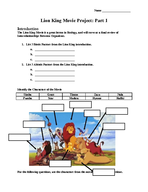 Ecology Worksheets Middle School Lion King Science Lesson Plans & Worksheets Reviewed by Teachers