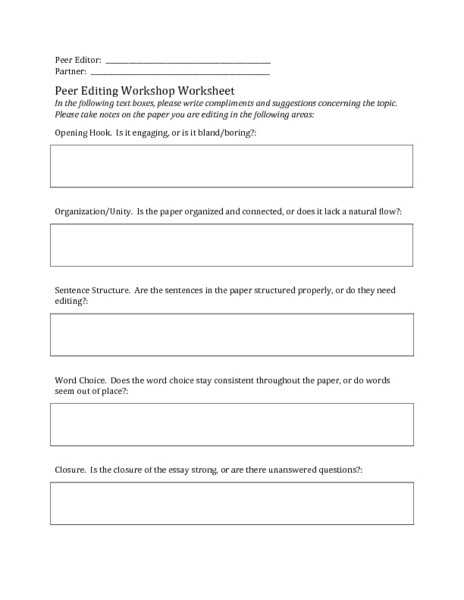 Editing Worksheet Middle School Essay Editing Worksheets – You are Here