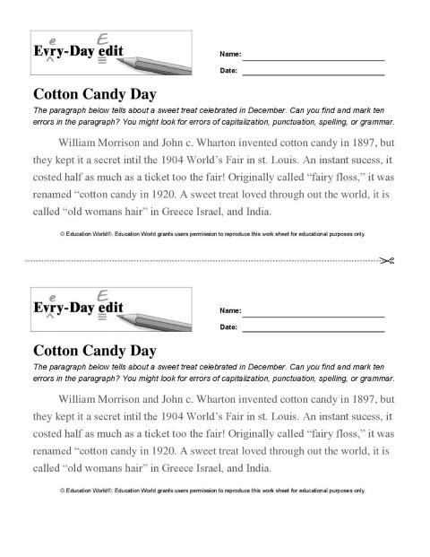 Editing Worksheet Middle School Everyday Edit Cotton Candy Download
