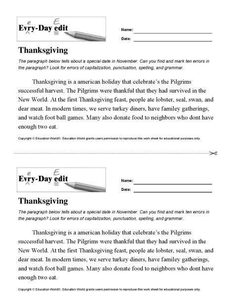 Editing Worksheet Middle School Everyday Edit Thanksgiving Download