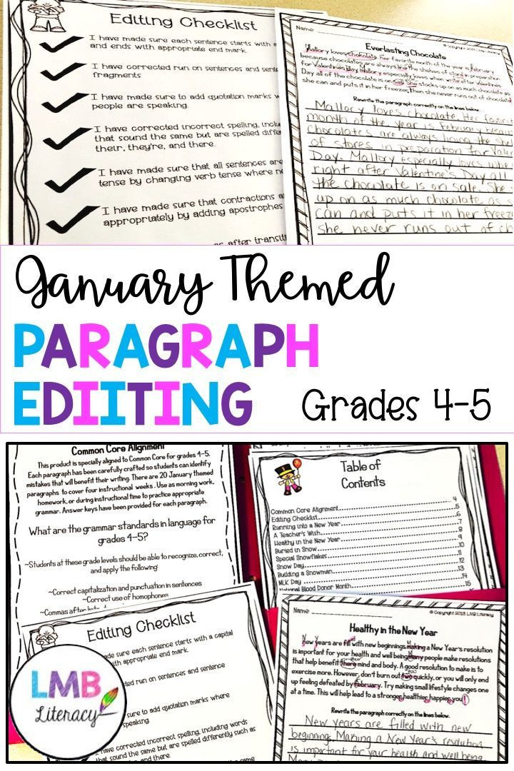 Editing Worksheet Middle School January Writing Paragraph Editing Worksheets for Grades 4 5