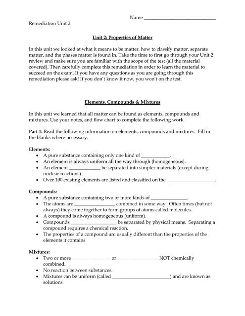 Elements and Compounds Worksheet Elements Pounds & Mixtures Worksheet Seabreeze High