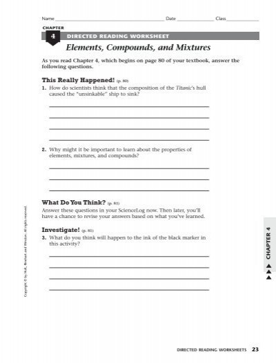 Elements and Compounds Worksheet Elements Pounds and Mixtures Home Link