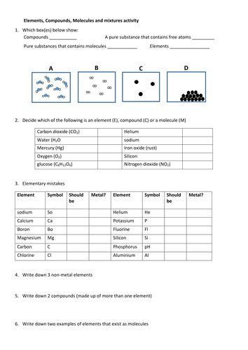 Elements Compounds Mixtures Worksheet Answers Pin On Worksheets