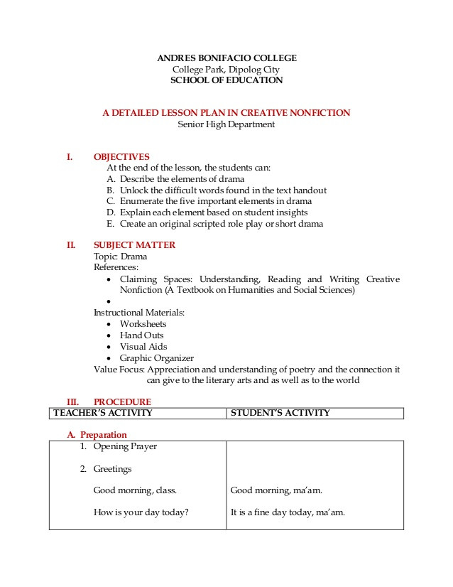Elements Of Drama Worksheet Detailed Lesson Plan Creative Nonfiction Drama
