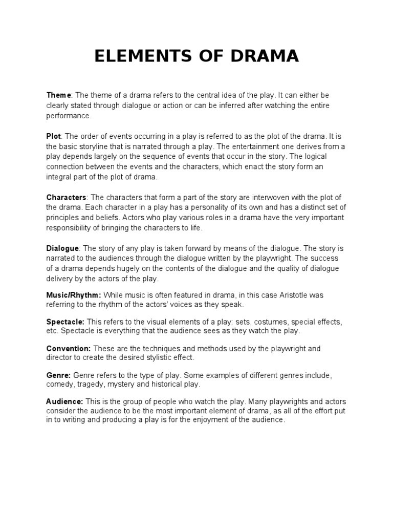 Elements Of Drama Worksheet Elements Of Drama Europeipsleep