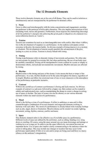 Elements Of Drama Worksheet Elements Of Drama Lesson Plans & Worksheets Reviewed by Teachers