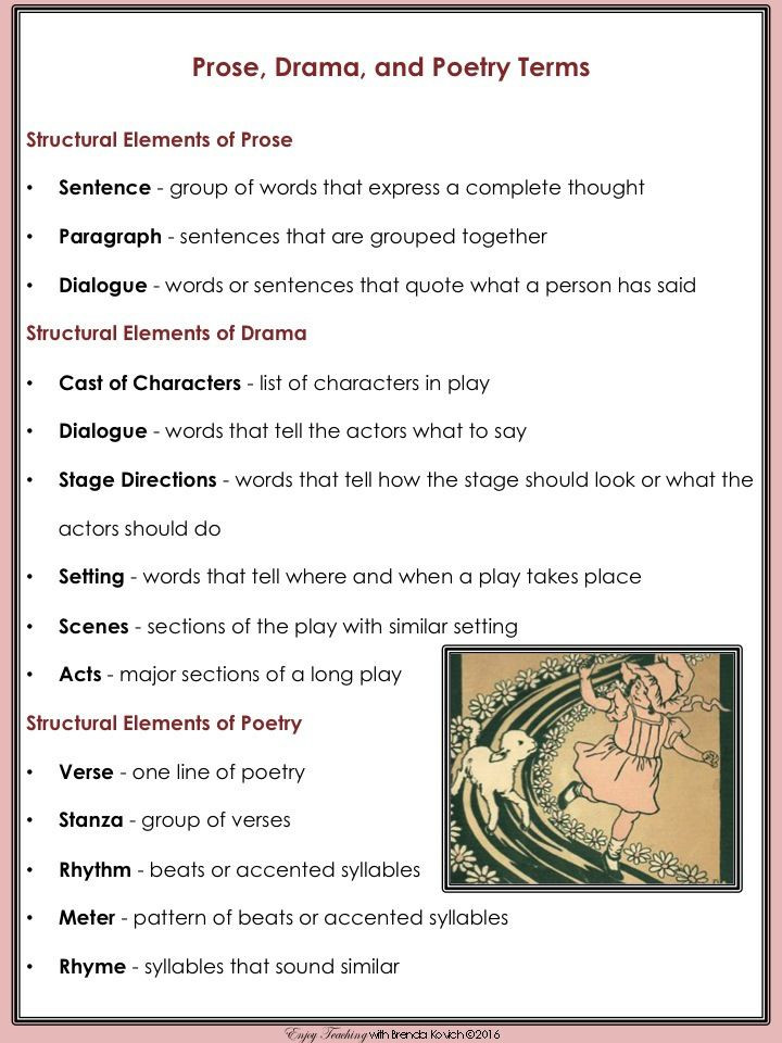 Elements Of Drama Worksheet Enjoy Teaching Prose Drama and Poetry