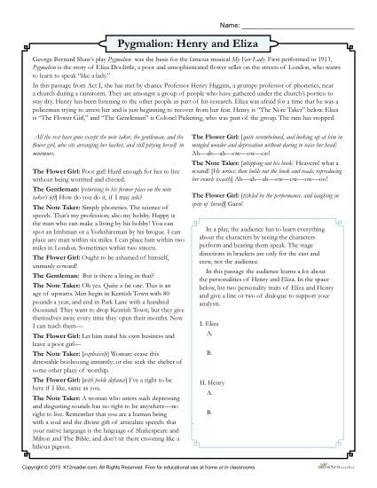 Elements Of Drama Worksheet Pygmalion Henry and Eliza Drama Worksheet