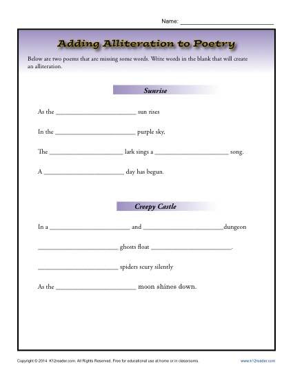 Elements Of Poetry Worksheet Adding Alliteration to Poetry