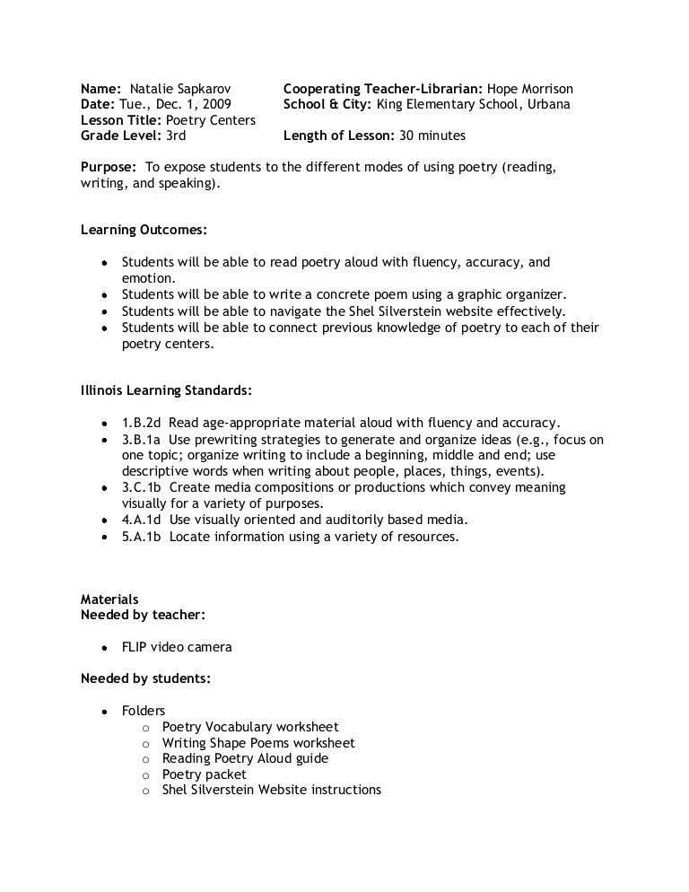 Elements Of Poetry Worksheet Poetry Centers Lesson Plan
