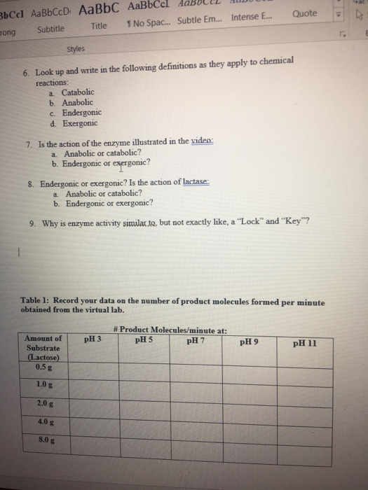 Enzymes Worksheet Answer Key solved Enzyme Controlled Reactions Worksheet Protected Vi