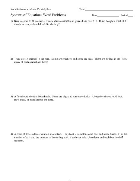 Equation Word Problems Worksheet Systems Of Equations Word Problems Worksheet for 11th Grade