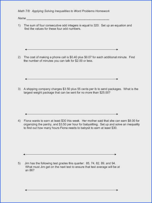 Equation Word Problems Worksheet Word Problems Involving Linear Equations Worksheet