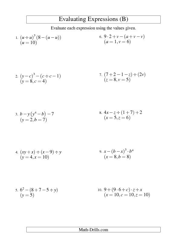 Evaluating Algebraic Expressions Worksheet Pdf Sixth Grade Lesson Writing and Evaluating Expressions