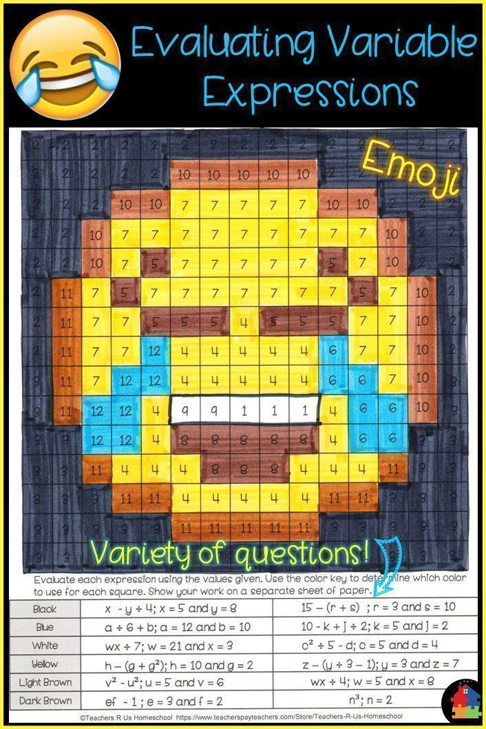 Evaluating Variable Expressions Worksheet Pin On School Ideas