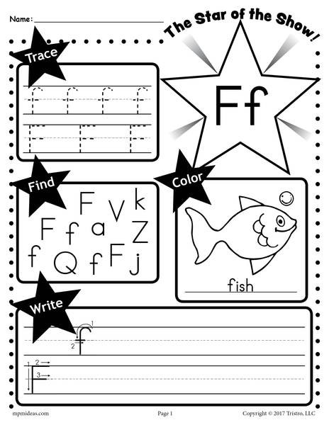 F Worksheets for Preschool Letter F Worksheet Tracing Coloring Writing & More