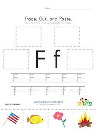 F Worksheets for Preschool Trace Cut and Paste Letter F Worksheet