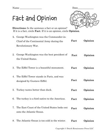 Fact or Opinion Worksheet Fact and Opinion Worksheet Tim S Printables