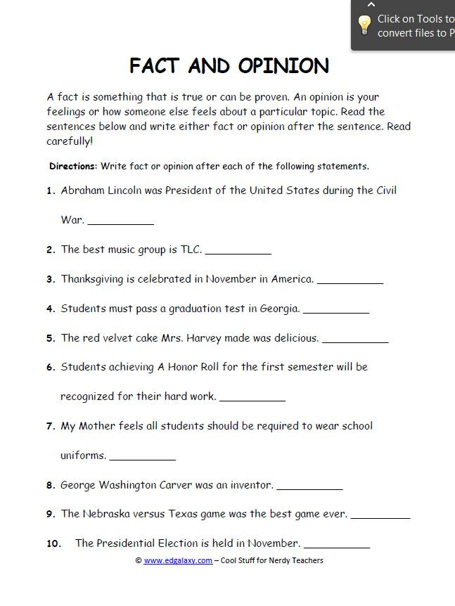 Fact or Opinion Worksheet Fact and Opinion Worksheets for Students — Edgalaxy