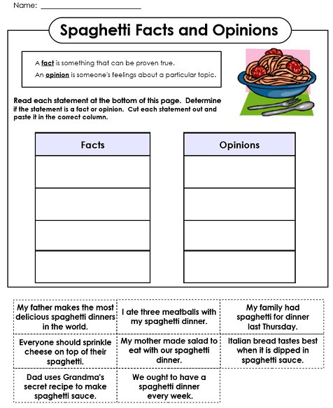 Fact or Opinion Worksheet Fact and Opinion Worksheets